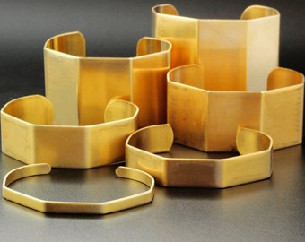 Bent Bangle Cuff Bases in Rich Low Brass - Open Hexagon - 6 Sizes to Choose From 6.5mm - 50mm