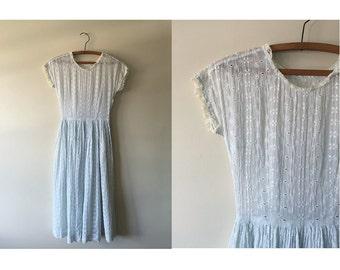Eyelet and Lace Dress | 40s light blue dress | vintage 1940s dress