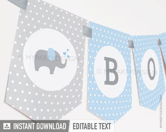 Elephant Baby Shower Banner - Boy Blue - INSTANT DOWNLOAD - Printable PDF with Editable Text