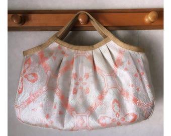 Japanese kimono obi , granny bag , pink