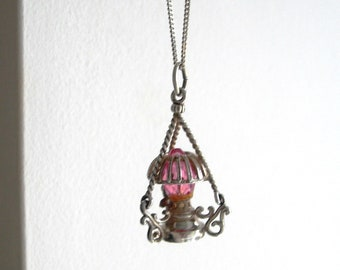 Chandelier, sterling silver pendant, unique, 3 dimensions ,pink crystal,a lamp,  hand made, vintage