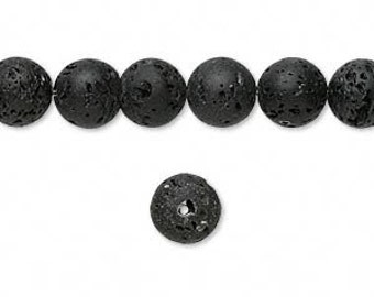 8mm Black Lava Round Beads, Essential Oil Bead, Black Lava, Lava Bead for Essential Oils, Lavender Essential Oil Bead, 8mm Black Rock