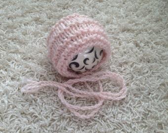 Newborn up to Toddler size knit bonnet in alpaca