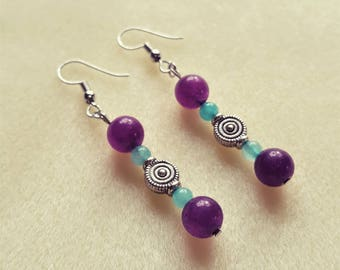 Amethyst & Amazonite Dangle Earrings