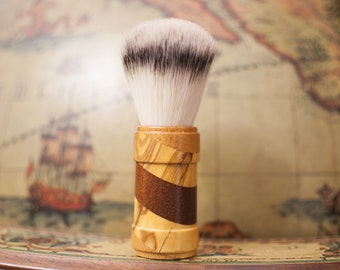Shaving brush Essentia brushes handmade in limited edition wooden Barberpole with overlapping woods
