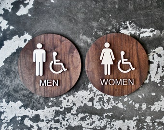 "ADA Braille Restroom Sign Set - Men Women Handicap Bathroom - 9"" Diameter - 2 Signs - Americans with Disabilities"