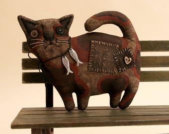 Primitive Thick Spotted Cute Cat Lover Gift Folk Art Primitive Halloween decor Cat Figure Cat collectible Brown Cat Art Decor