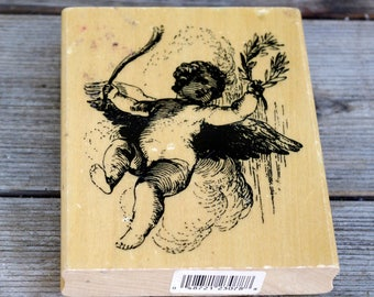 Anita's Wood Mounted Rubber Stamp, Cherub in Clouds, Angel