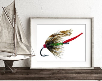 Watercolor Trout Fly, Fly Fishing Gifts, fly fishing art, Fishing Gift for him, Art for Man Cave, fishing fly art, fisherman gift,