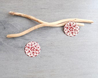 Set of 4 round sequins dark red and ivory