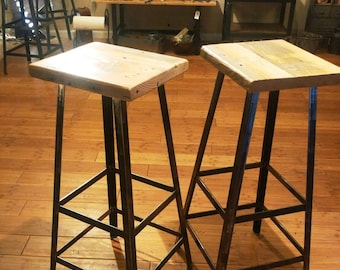 Industrial Metal Stool Chair with Reclaimed Wood Seat In Your Choice of Heights