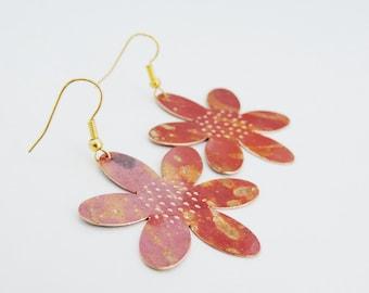Copper Flower Earrings - Flame Colored Copper Earrings - Simple and Lightweight earrings