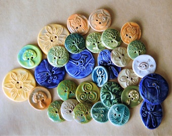 30 Handmade Ceramic Buttons - Large Assortment of Sale Ceramic Buttons - Focal Artisan Buttons for Crafts - Tree of Life Buttons and more