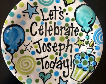 Birthday Plate - Blue abd Green  Personalized 10 Inch Ceramic Special Day Plate