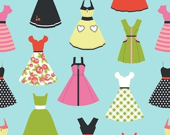 Spring Cleaning Dresses in Aqua Novelty Fabric-  by Riley Blake - 1 Yard