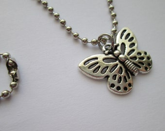 Butterfly Necklace stainless Steel ball chain