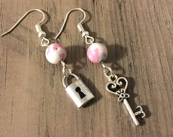 Lock and Key Charm Earrings