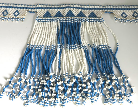 Girl's Native American beaded choker necklace with dangles, blue and white beads, button closure, adjustable, 11 - 13 inches / 28 - 33 cm