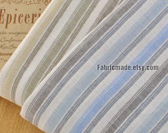 Blue White Stripes Fabric, Yellow Green Stripes Cotton, Yarn Dye Stripes Cotton Fabric  - 1/2 yard