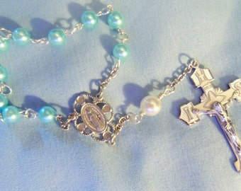 Sterling Silver Plated Single Decade Rosary, Rosary beads, Finger Rosary, Sterling silver plate, Hail Mary beads, Dominican rosary, Catholic
