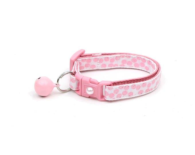 Polka Dot Cat Collar - Light Pink Dots on White - Breakaway Cat Collar - Kitten or Large size