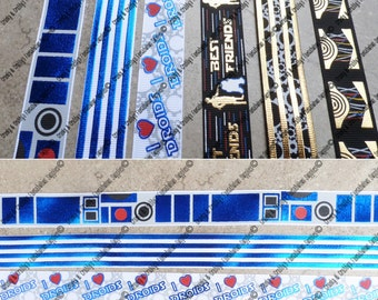 "7/8"" Droids Collection  - US Designer Printed Ribbon - 1yd, 3yd or 5 yd - Space Inspired, Best Friends, Robots"