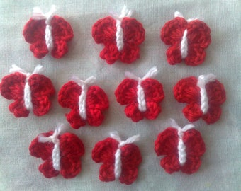 Red butterflies, 10 pieces of crocheted butterfly patch
