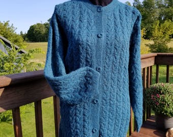 100% Alpaca Women's Teal Front-Buttoned Cabled Cardigan Mid-thigh Warm Soft