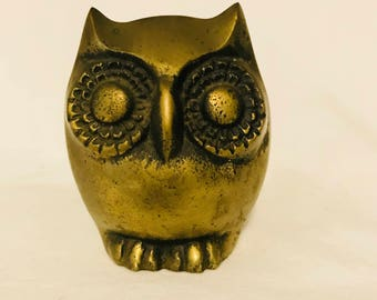 Vintage Brass Owl Figurine Collectible Display Retro Modern Mod Mid Century