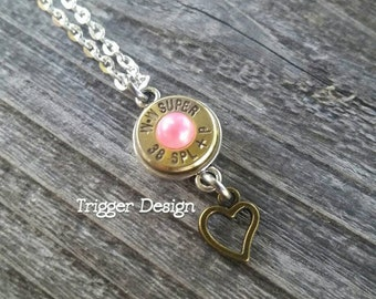 38 Special Brass Bullet Necklace with Heart Charm -Light Pink Pearl
