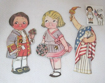"""Older Dolly Dingle Paper Doll 6 PC Dress 4th of July Liberty w Boy Doll 6 1/8""""  T27"""
