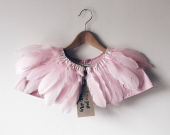 wedding cape, bridesmaid cape, bridal cape, feather capelet, child's Feather cape, pink feather cape, Gift for Girl, vintage pink