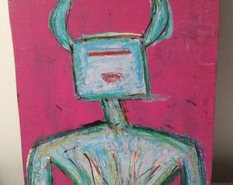 Outsider Art - Naive - Primitive - Art Brut - RONGO art - painting on cabinet Door - Strong Like Bull