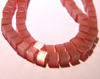 30 beads - cat eye glass cube 4 mm - old rose-PG155-4