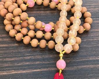 Yellow jade mala,pink opal mala,wooden beads,108 meditation mala