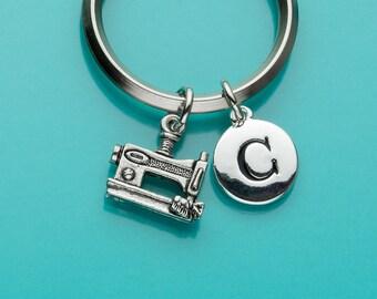 Sewing Machine Keychain, Sewing Machine Key Ring, Initial Keychain, Personalized Keychain, Custom Keychain, Charm Keychain, 320
