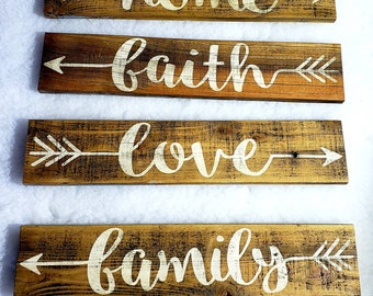 Wooden Arrow Sign * Handmade *FREE SHIPPING * Love * Home * Faith * Family * Reclaimed Wood Sign * Sold Individually or as Set