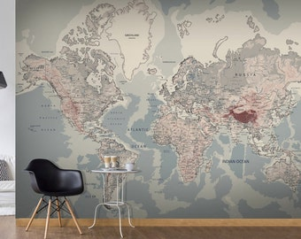 World map wall mural etsy photo wallpaper wall murals non woven world map atlas modern design wall decals bedroom decor home design wall art decals 297 gumiabroncs Image collections