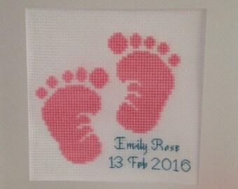 Cross stitch baby footprints