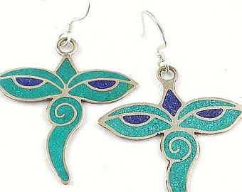 Tibetan jewelry EARRINGS traditional eyes of Buddha, ethnic jewelry nepal jewelry Buddhist abn5.1