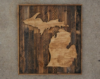 handcrafted reclaimed wood state of michigan sign