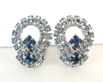 Blue Rhinestone Earrings Silver Tone Metal Vintage Clip On Earrings from TreasuresOfGrace