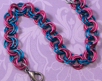 Pink and Blue Flower Weave Chainmail Bracelet, Pink and Blue Bracelet, Chainmail Bracelet, Colorful Chainmail Bracelet, Gift for Her