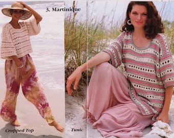 Crochet Tunic Top & Crop Top Pattern, Martinique Sweater Ladies Women Plus Sizes PATTERN, PDF Download