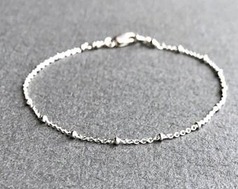 Sterling Silver Chain Bracelet, Silver Satellite Chain Bracelet, Silver Saturn Chain Bracelet, Delicate Silver Bracelet Dainty Silver Anklet