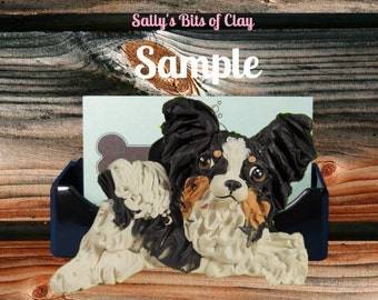 Tri Color Long Haired Chihuahua Business Card Holder / Iphone / Cell phone OOAK sculpture by Sally's Bits of Clay