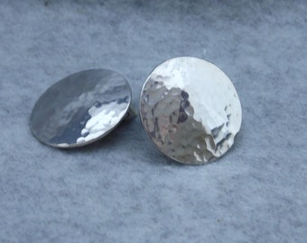 Button Silver Clip On Earrings, Sterling Silver Clip On Earrings, Minimalist Earrings