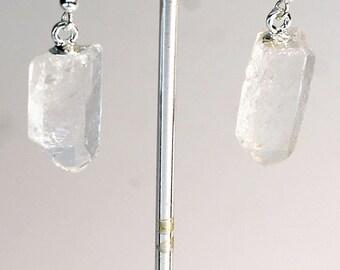 Silver Top Plated Quartz Point Earrings (ER11BT)