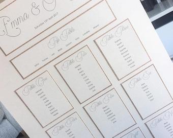 Wedding Table Plan / Wedding Seating Chart / Glitter Seating Chart / Glitter Table Plan / Basic Table Plan / Basic Seating Chart