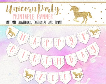 Unicorn Party Banner, Editable/Printable Unicorn Birthday Banner, Pink and Gold Unicorn Happy Birthday Banner PDF INSTANT DOWNLOAD